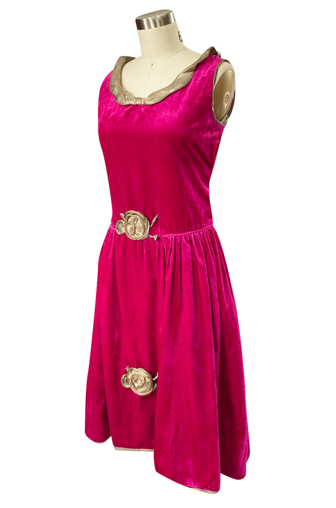 1920s Deep Fuchsia Pink Velvet Dress w Gold Lame Flowers & Trim