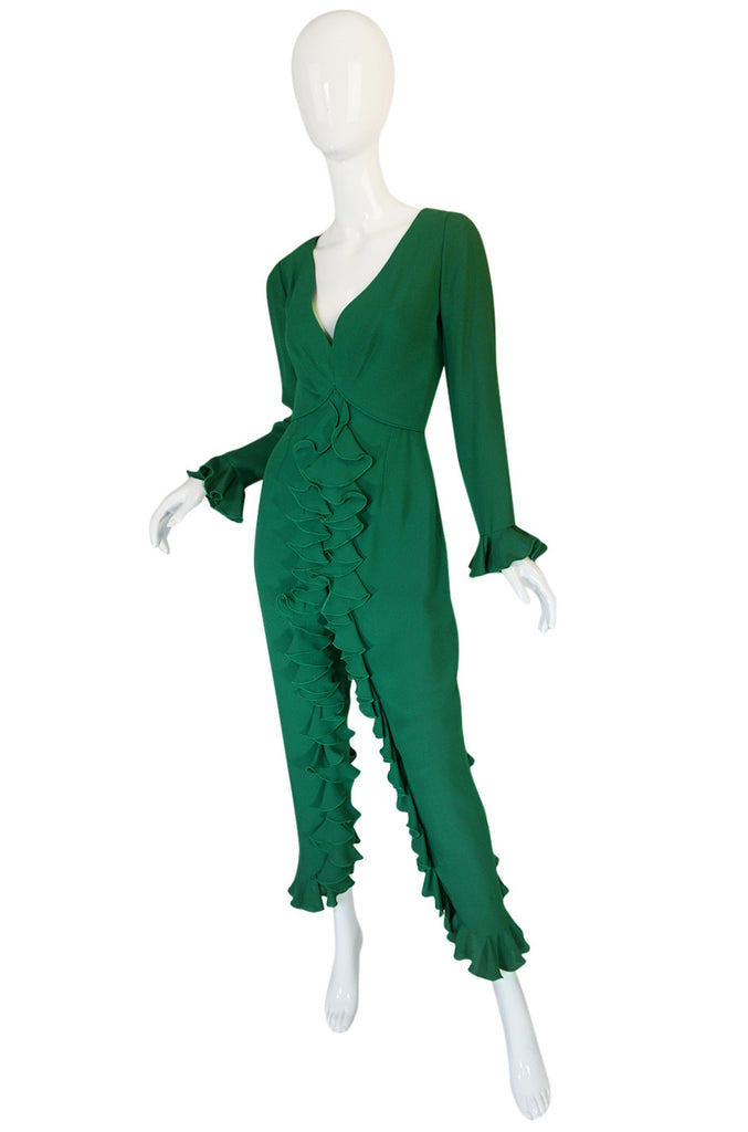 Rare 1960s Lucie Ann Ruffled Green Crepe Jumpsuit