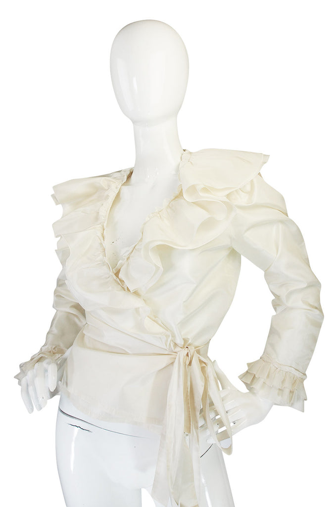 1970s Guy LaRoche Silk Taffeta Wrap Top