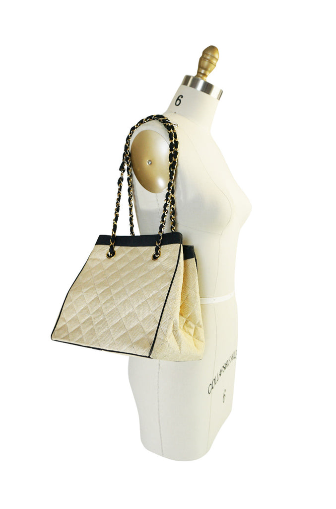 1991 Chanel Ad Campaign Logo Raffia Box Bag