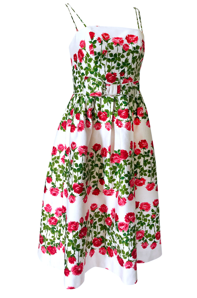 1960s Unlabeled Pink & Green Floral Print on White Cotton Dress