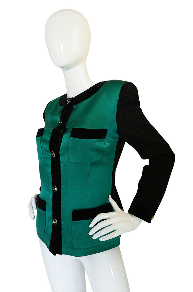 1980s Chanel Emerald Green Silk Satin Front Black Jacket