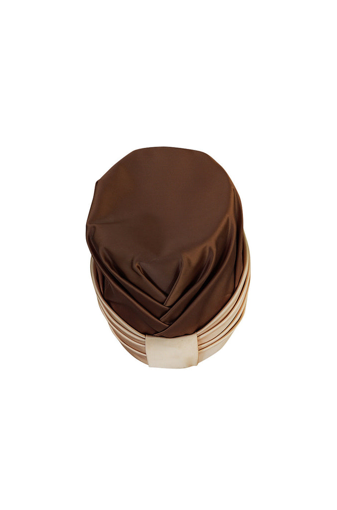 1950s Givenchy Copper and Rose Gold Tone Silk Satin Hat