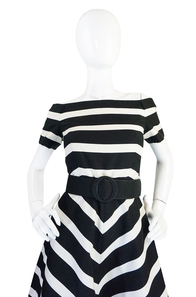 1980s Black and White Scassi Striped Dress