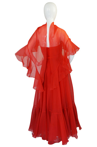 1972 Ferdinando Sarmi Strapless Silk Organza Ruffle Dress