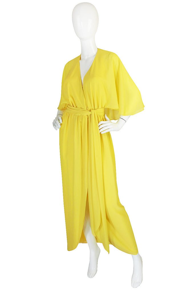 1970s Backless Yellow Wrap Halston Maxi Dress