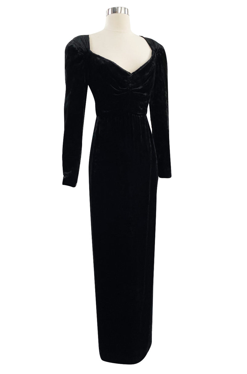 Fall 1984 Christian Dior by Marc Bohan Haute Couture Sleek Black Textured Velvet Dress