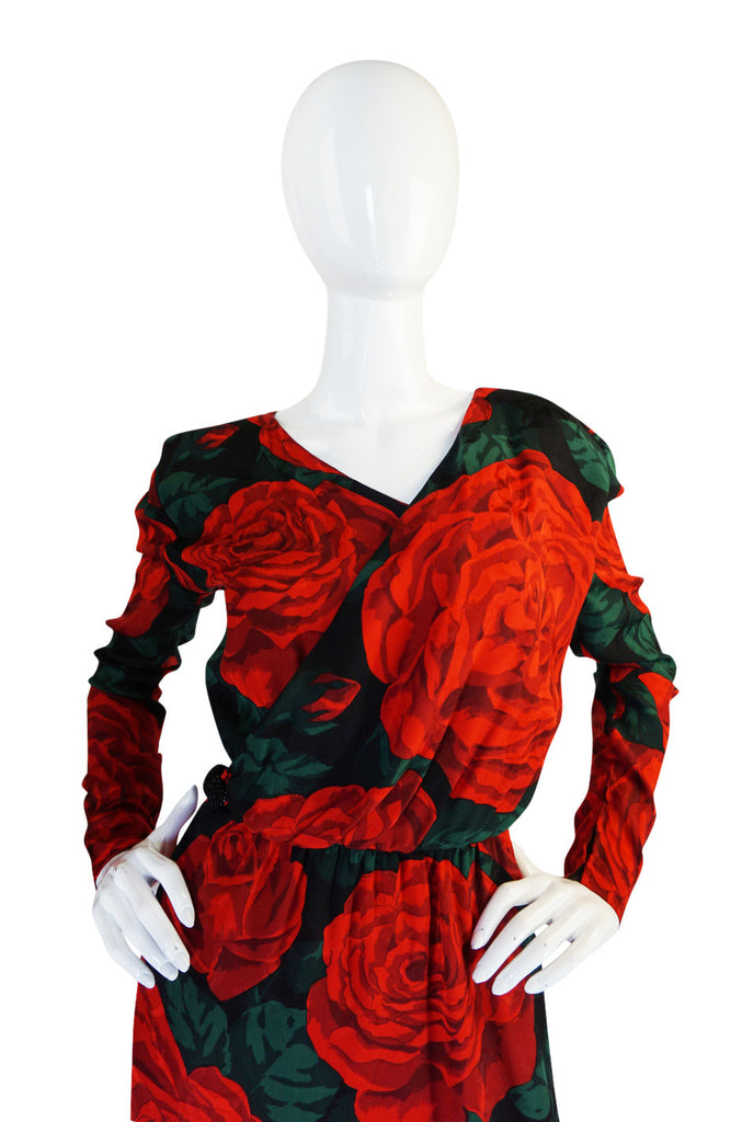 1980s Huge Rose Print Silk Valentino Dress