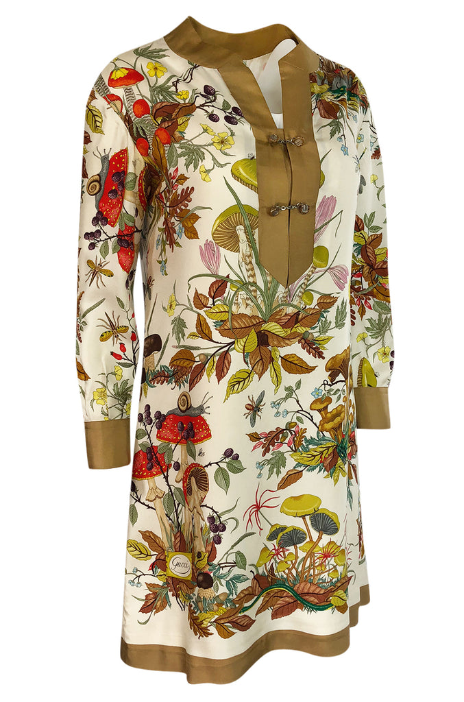 1970s Gucci Ad Campaign Flora Fauna Screen Printed Silk Shift Dress