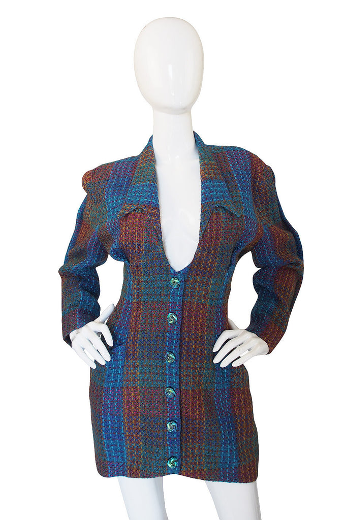 1980s Thierry Mugler Blue Boucle jacket