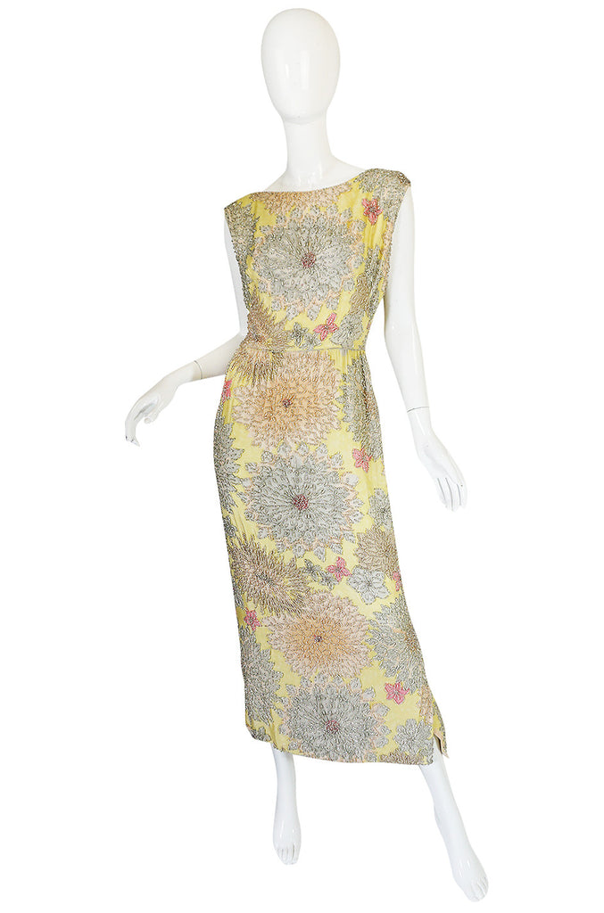 1960s Densely Beaded Malcolm Starr Floral Silk Dress