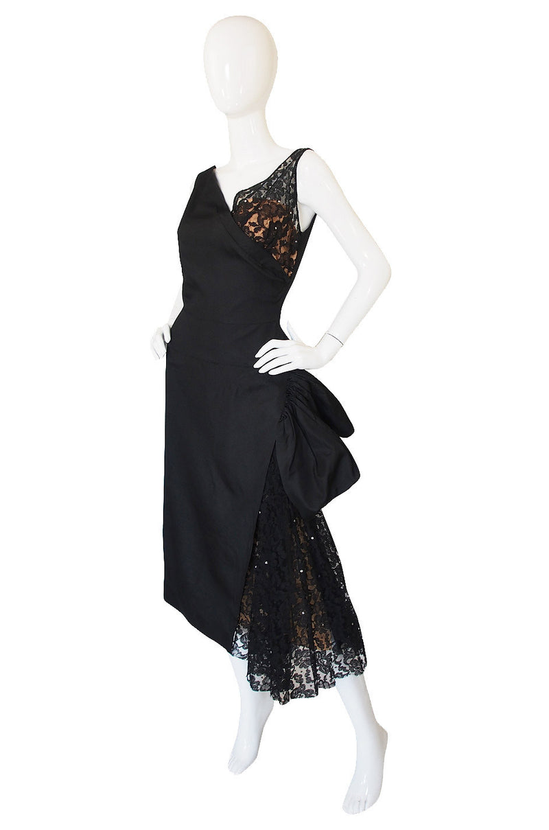 1950s Lilli Diamond Silk & Lace Bombshell Dress