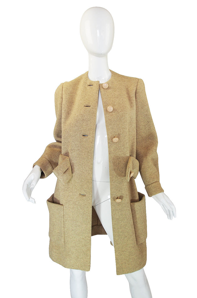 1950s Wool Norman Norell Camel Coat