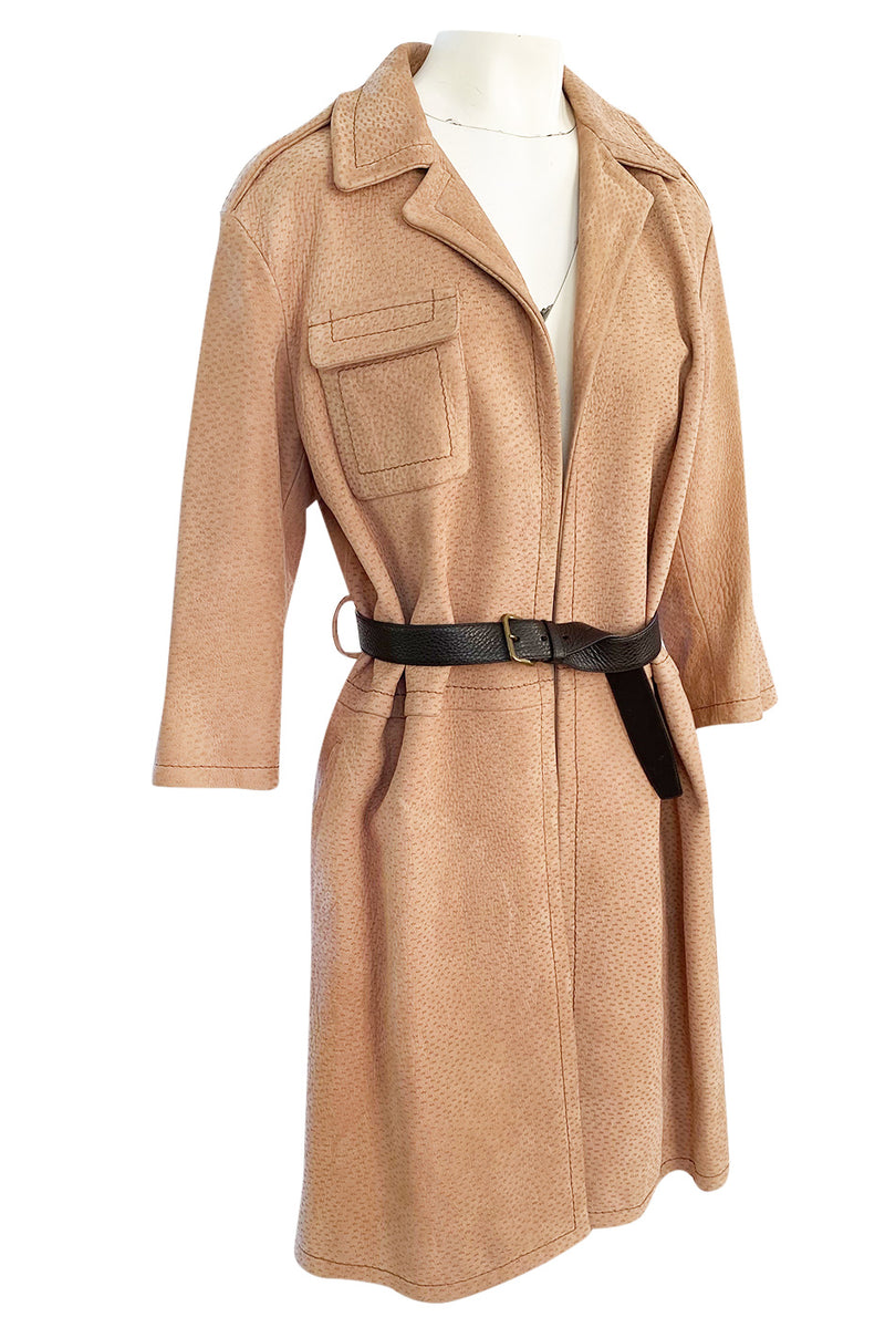 Fall 2003 Prada Runway Documented Ostrich Textured Suede Leather Coat w Belt