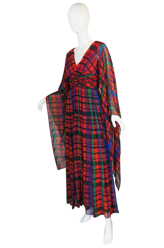1960s Flowing Scarf Armed Mollie Parnis Maxi Dress