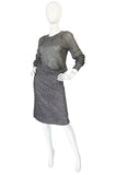 1960s Gunn Trigere Silver Metallic Knit Top & Skirt Set