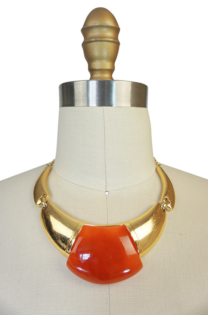 1970s Amber Resin & Gold Amulet Lanvin Choker Necklace