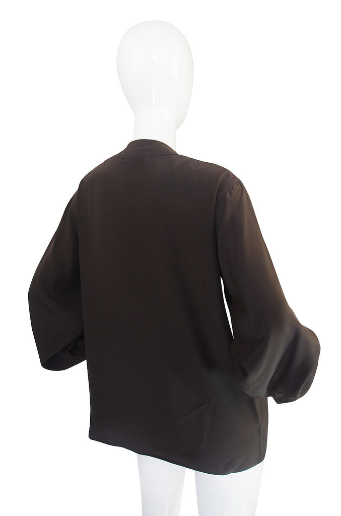 1970s Yves Saint Laurent Brown Silk Top