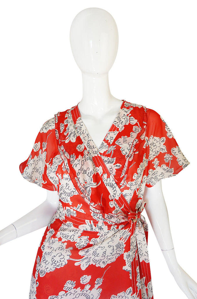 Recent Red Printed Cacharel Silk Chiffon Wrap Dress