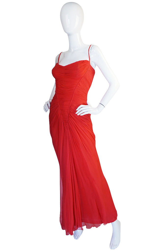 c1959 Haute Couture Maggy Rouff Red Draped Gown
