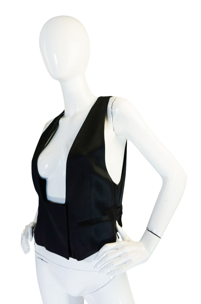 Iconic 1990s Black Silk Yves Saint Laurent Tuxedo Vest