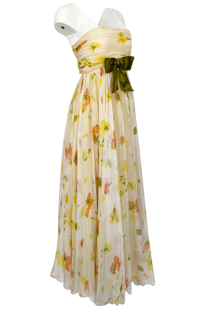 1961 Ferdinando Sarmi Strapless Yellow Floral Print Silk Chiffon Dress