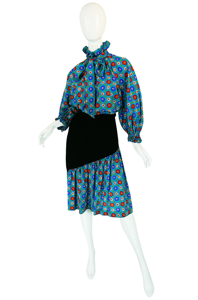 1970s Print & Velvet Yves Saint Laurent Peasant Top & Skirt