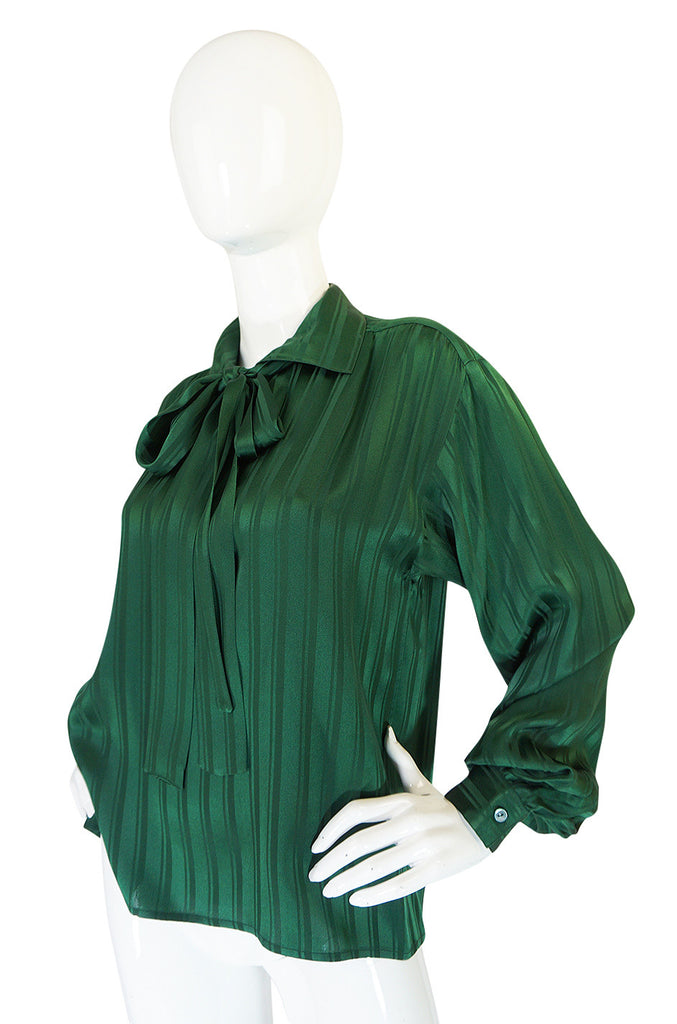 1970s Yves Saint Laurent Green Silk Stripe on Stripe Top