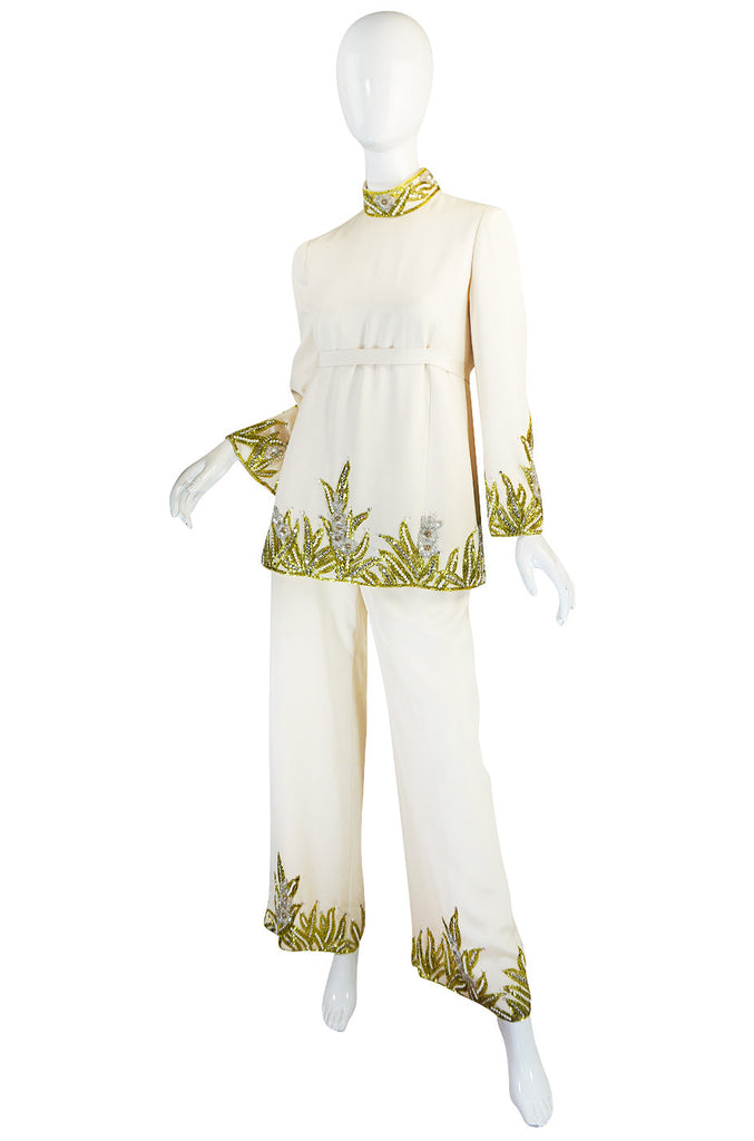 1960s Michael Novarese Heavily Beaded Silk Pantsuit