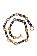 1970s Blue & Gold Gucci Enamel Belt