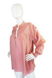 1970s Yves Saint Laurent Pink Silk Smock Top