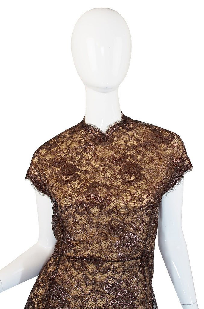 1980s Fine Geoffrey Beene Iridescent Lace Dress
