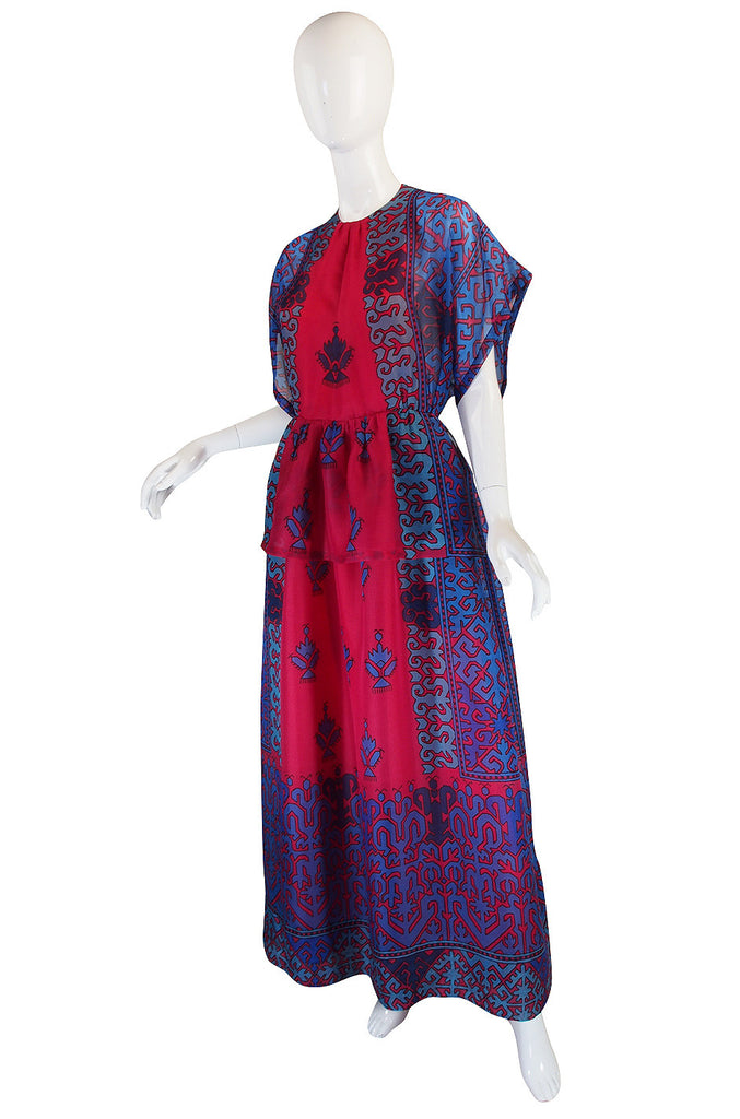 1970s Numbered Silk Gazar Lanvin Caftan Dress