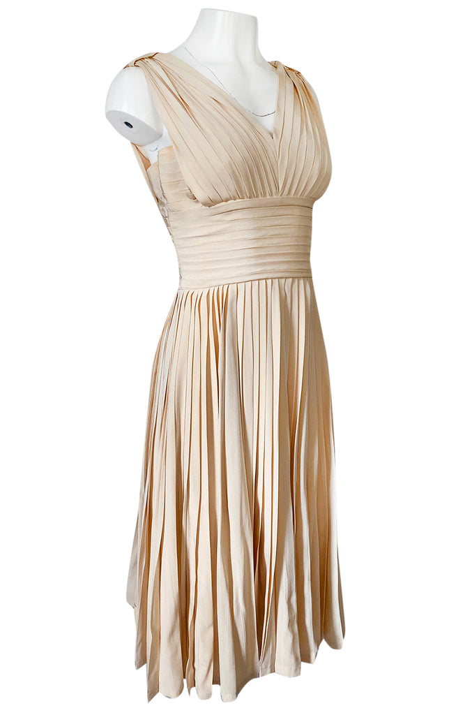 1960s Unlabeled Norman Norell Creamy Ivory Silk Knife Pleat Dress