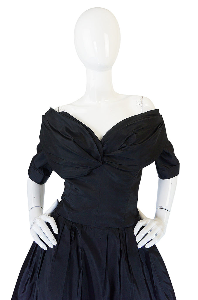 Stunning 1950s Black Silk Off Shoulder Peggy Hunt Dress