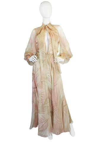 S/S 1974 Christian Dior Haute Couture Silk Gown
