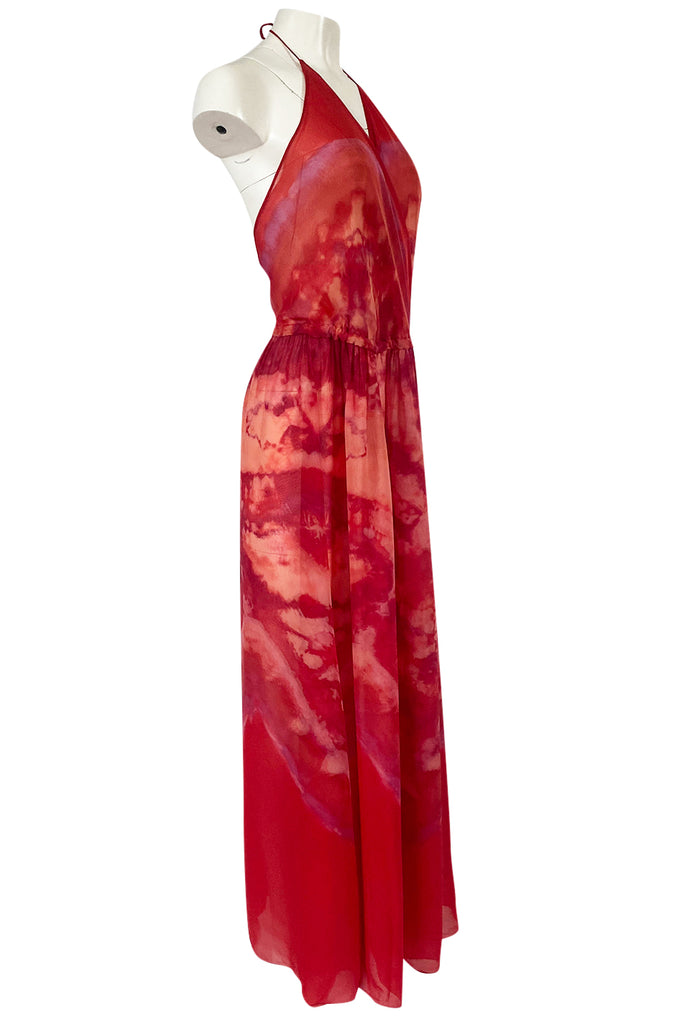 1970s Lillie Rubin Tie Dye Silk Dress w Low Back and Halter Front