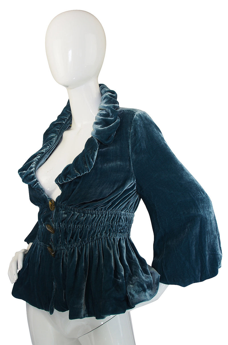 1920s Teal Blue Silk Velvet Ruffle Jacket