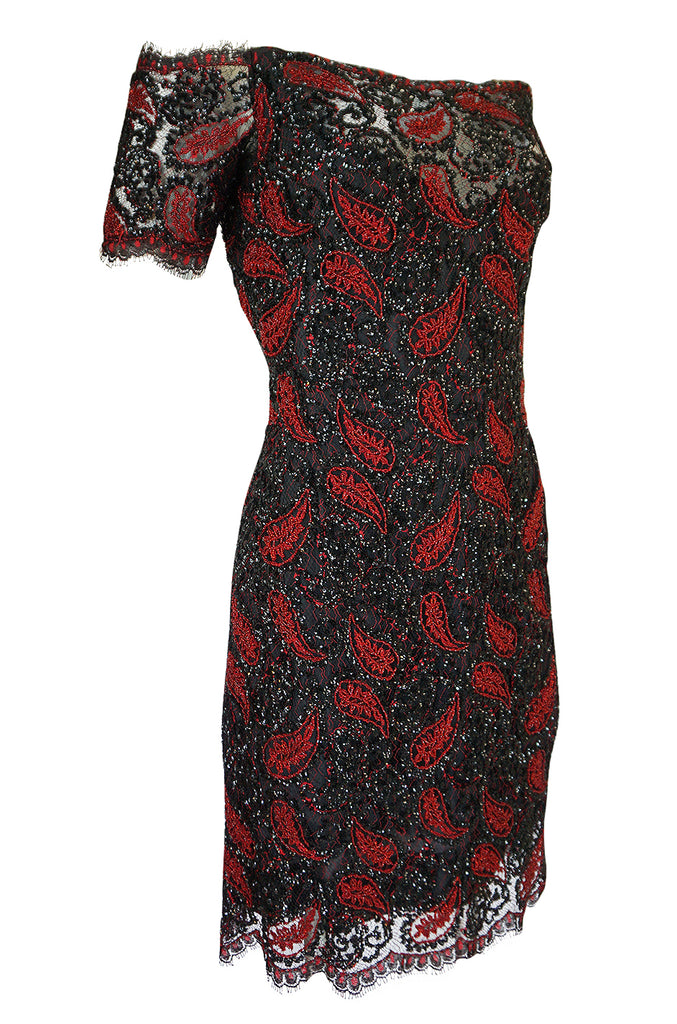 1980s Koos Couture Red Bead & Black Sequin on Silk Net Dress