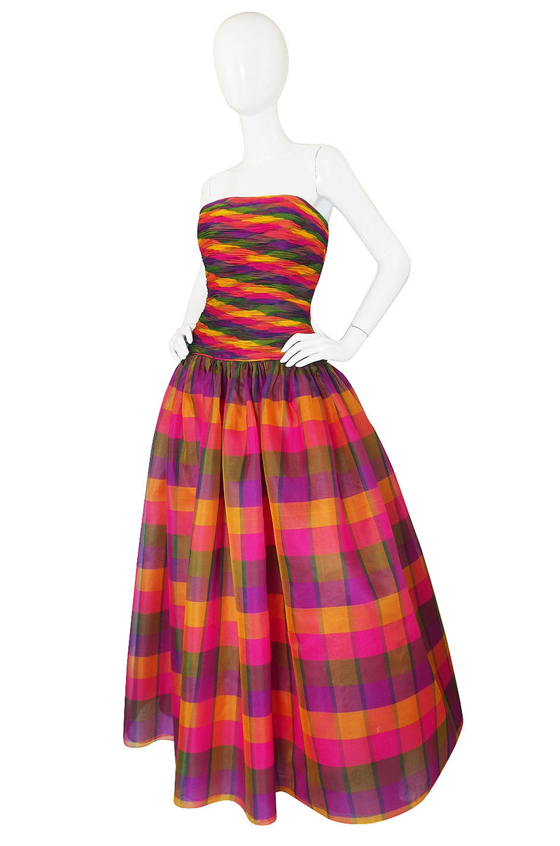 1980s Multi Color Silk Organza Strapless Gown