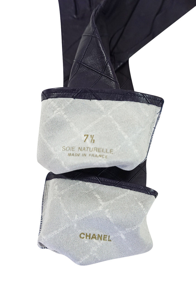 Vintage Chanel Quilted Purple Elbow Length Gloves 7.5
