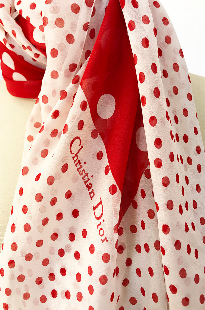 c.1978 Christian Dior Couture Huge Silk Chiffon Red & White Scarf