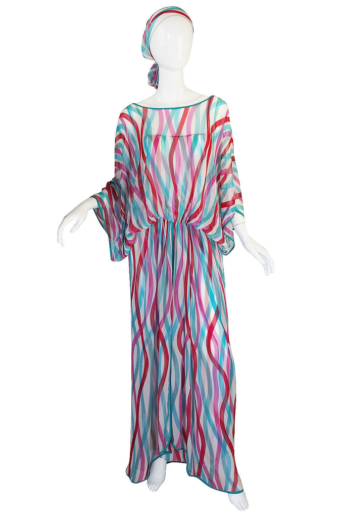 1970s Silk Chiffon Giorgio Sant Angelo Caftan Dress