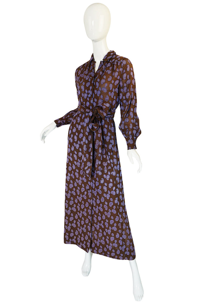 1970s Givenchy Purple & Chocolate Silk Applique Dress