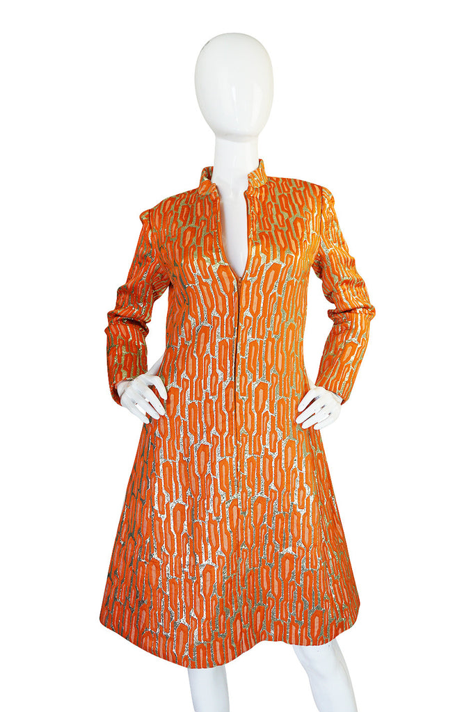 1960s Orange & Gold Metallic Silk Brocade Larry Aldrich