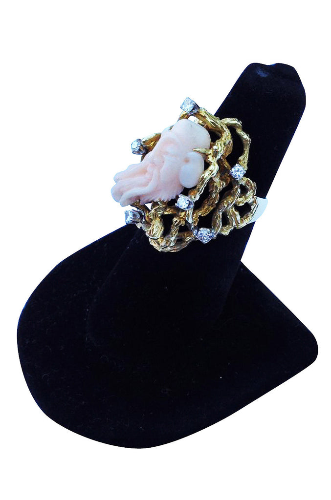1960s Coral Diamond Gold Cocktail Ring
