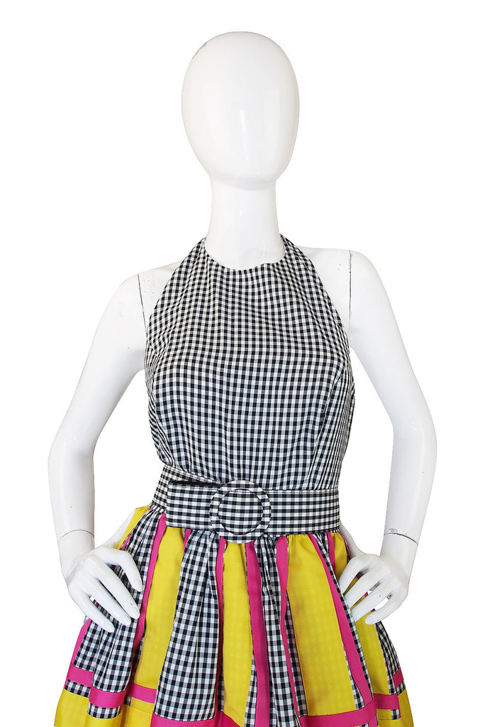 1980s Bill Blass Check & Bright Backless Dress