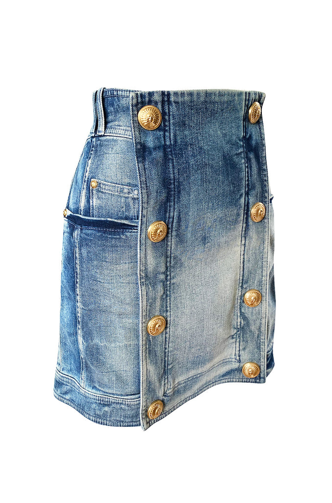Resort 2015 Balmain Military Inspited Gold Button Denim Mini Skirt Skirt