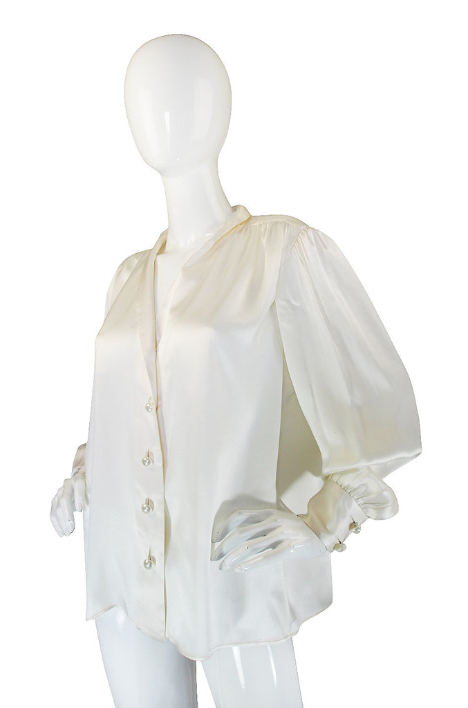 1970s Pearl & Silk Yves Saint Laurent Top