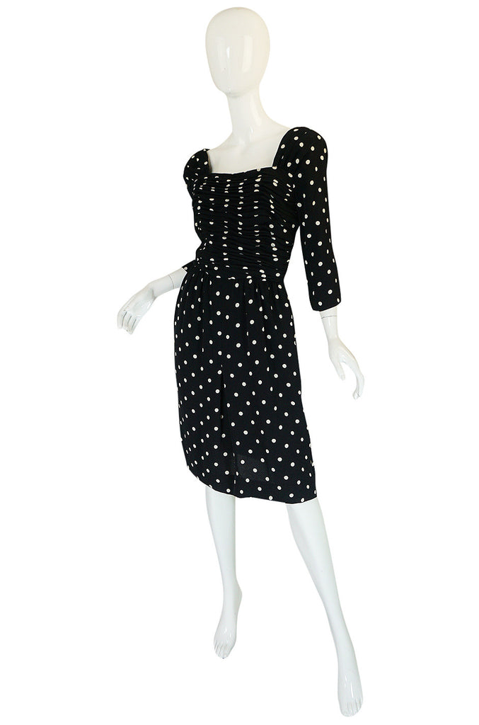 1980s Oscar de la Renta Chic Black & White Dot Dress